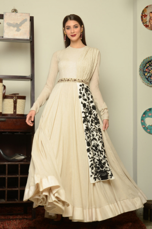 Ivory Floor Length Gown