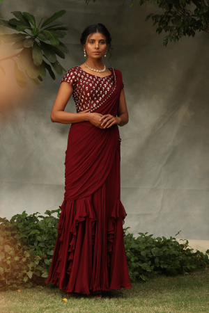 Ruffle drape saree with blouse