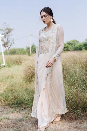 Drape saree wirh blouse, belt & shrug