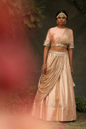 Drape choli with drape lehnga