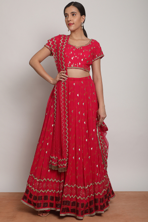 Floating shapes lehenga fuchia