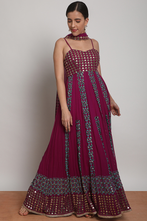Triangle tessellation anarkali aubergine