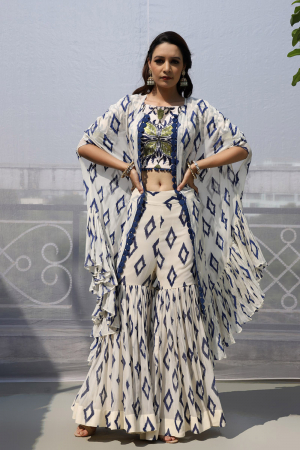 off white georgette and crepe sharara set