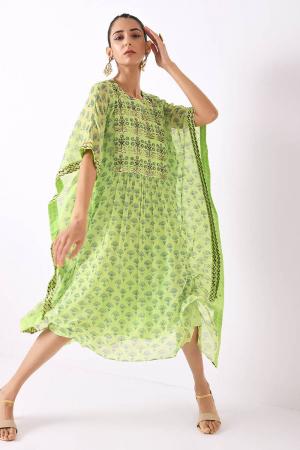 mint flower motif kaftaan gather dress