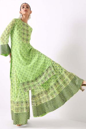 mint flower motif sharara set