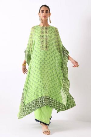 mint green small triangle border kaftan set