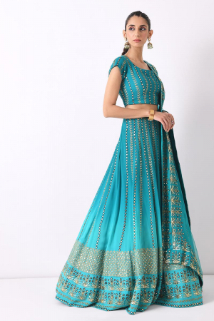 teal ombre linear embroidery lehnga set