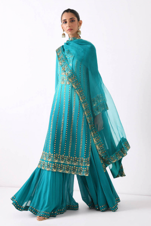 teal ombre linear embroidery sharara set
