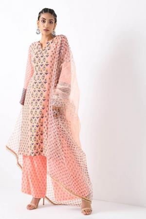 blush pink foil print detail small booti kurta