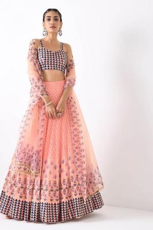 blush pink triangle motif three border lehnga