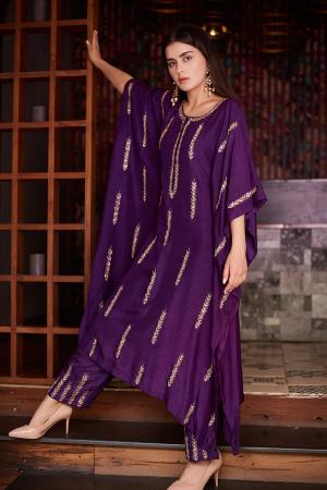 Purple arrow kaftan with embroidered pallazo