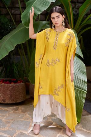 Mustard motif kaftan with white harem pants