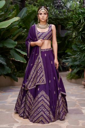 Purple chevron lehenga with Purple dupatta and sleevless blouse