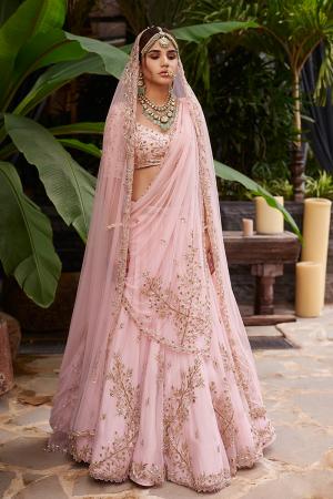 Pink net cross morif lehnega with Pink dupatta, veil and  blouse