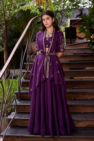 Purple Wrap Motif Sleeves Short Jacket With Purple Crop Top, Skirt And Embroidered Belt
