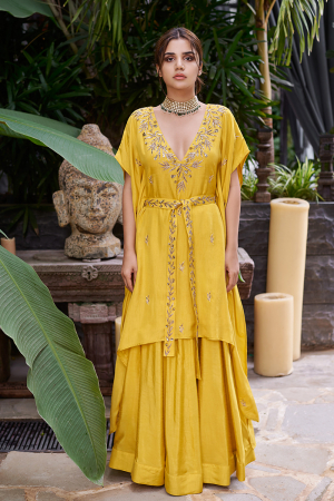 Mustard v neck kaftan embroidered with belt and Mustard skirt