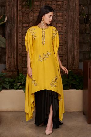 Black draped skirt with Mustard motif kaftan