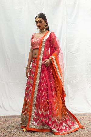 ombre rust pink chevron bridal lehenga