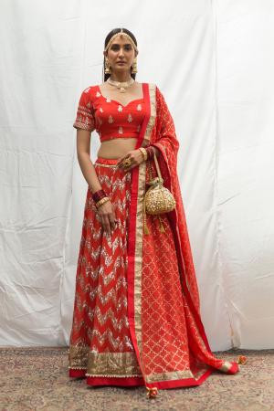 red chevron bridal lehenga