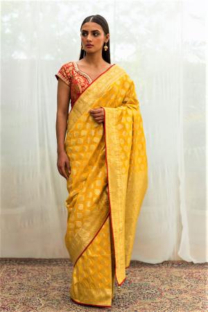yellow gold benarasi silk saree