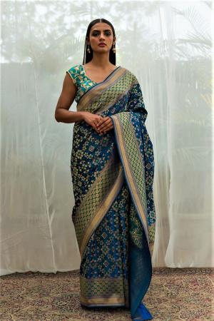 blue benarasi silk   saree