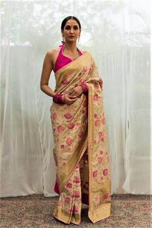 ivory pink benarasi silk saree
