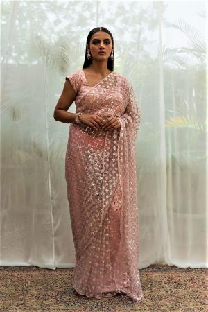 sequin mirror work pink saree  set