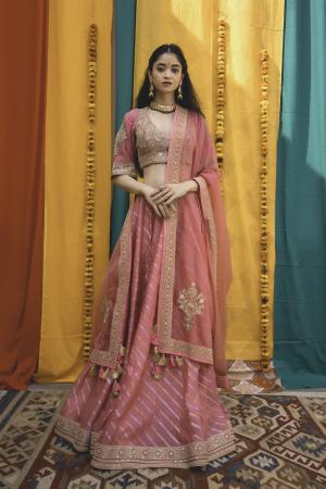 Pink Chanderi Handloom Organza Lehanga Set