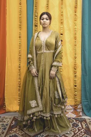 Lime Green Chanderi Handloom Organza Sharara Set