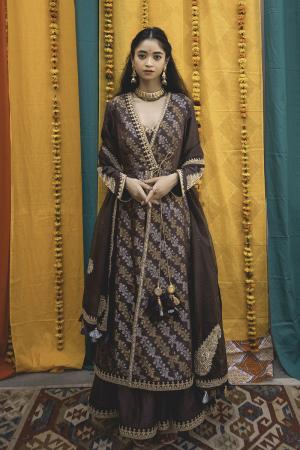 Charcoal Chanderi Handloom Organza Anarkali Set