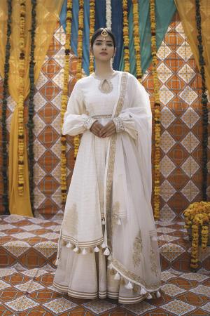 Ivory Chanderi Handloom Organza Sharara Set