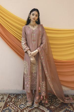 Old Rose Mult Color Chanderi Handloom Organza Kurta Set