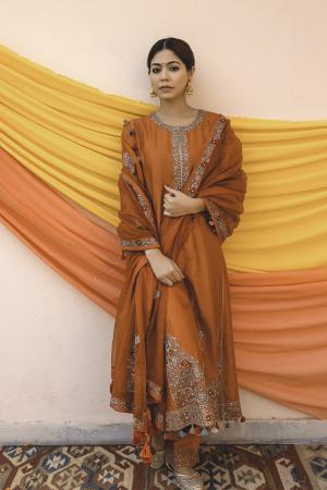 Rust Mult Color Chanderi Handloom Organza Kurta Set