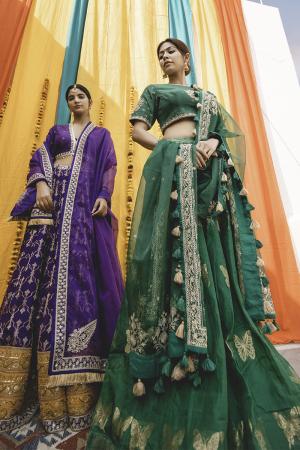 Emerald Chanderi Handloom Organza Lehanga Set