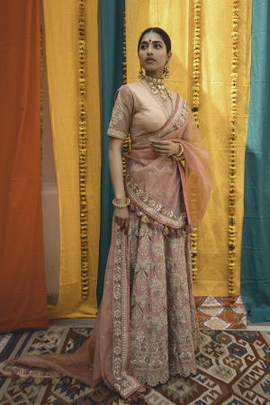 Old Rose Chanderi Handloom Organza Lehanga Set