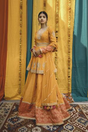 Orange Pink Chanderi Handloom Organza Lehanga Set