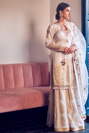 Ivory embroidered kurta and sharara set