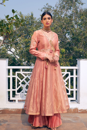 Old rose pink embroidered chanderi anarkali set