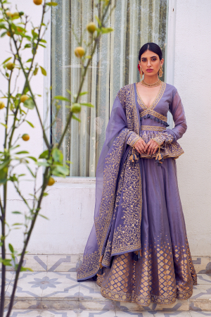 Purple peplum chomu lehenga set
