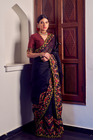 Black and red floral embroidered saree set