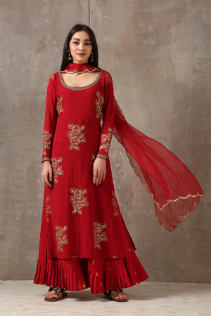 red kurta and palazzo set