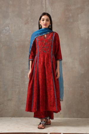 maroon kurta pants set