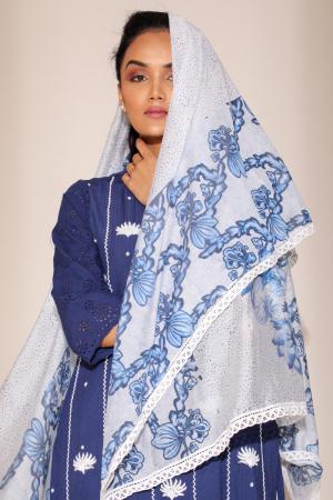 White/Blue Chanderi Modal Surma Crochete Lace Dupatta