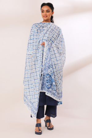 White/Blue Chanderi Modal Sonara Crochete Lace Dupatta