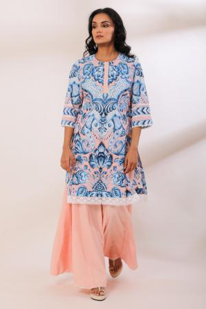 Peach Cotton Saryu Crochete Lace Garara set