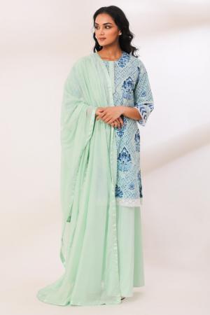 Mint Cotton Saryu Crochete Lace Garara set