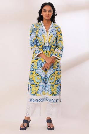 Yellow Cotton Reeti Crochete Lace, Schiffli Kurta set