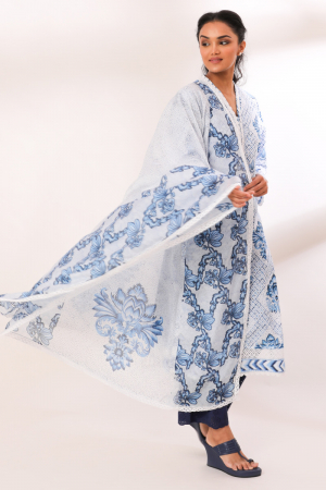 Blue Cotton Reeti Crochete Lace, Schiffli Kurta set