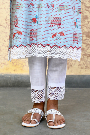 Ivory Slub Cotton  Pant