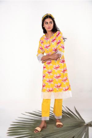 Yellow Mul Mul cotton Printed kurta